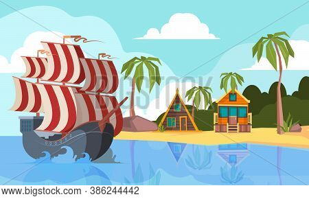 Pirate Boat In Ocean. Marine Landscape With Pirate Vessel On Waves Near Desert Island Vector Cartoon