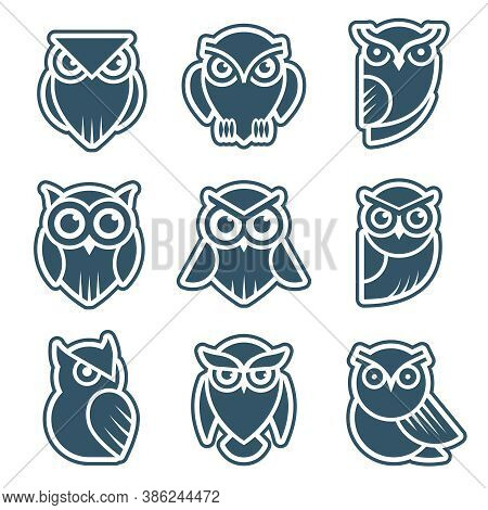 Owl Logo. Stylized Wild Animal Symbols Bird Face With Feathers Vector Modern Identity Templates. Owl