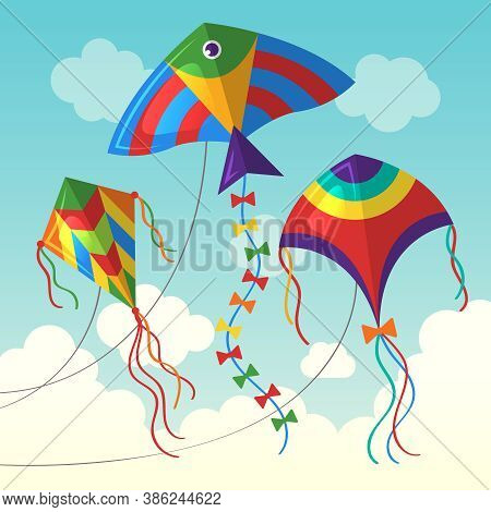 Kite In Cloud. Flying Outdoor Air Kite Vector Funny Toys For Kids Vector Background In Cartoon Style