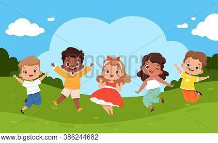 Jumping Kids In Playground. Sunny Weather And Playing Happy Group Of Children Summer Camping Relax V