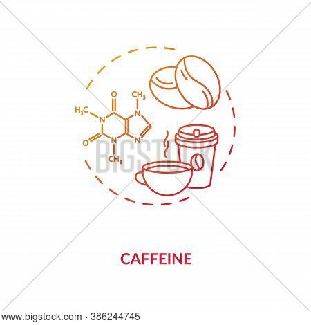 Caffeine Concept Icon. High Caffeine Energy Drinks Idea Thin Line Illustration. Central Nervous Syst