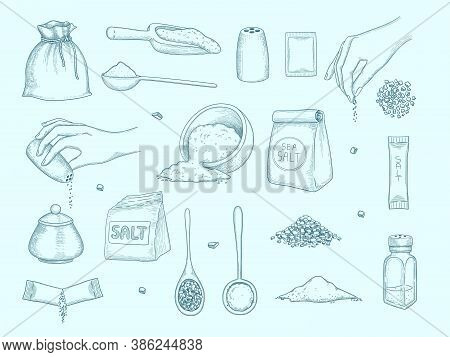 Salt Collection. Ingredient For Food Hands With Salt Shaker Kitchenware Items For Preparing Food Pep