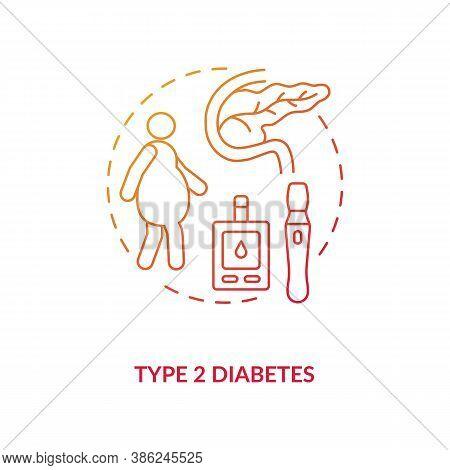 Type 2 Diabetes Concept Icon. Blood Sugar Spike Idea Thin Line Illustration. Hormone Insulin. Increa