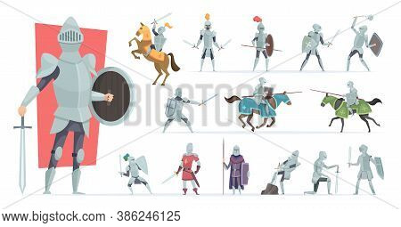 Knights. Medieval Warriors In Action Poses Armored Knights Vector Characters In Cartoon Style. Medie