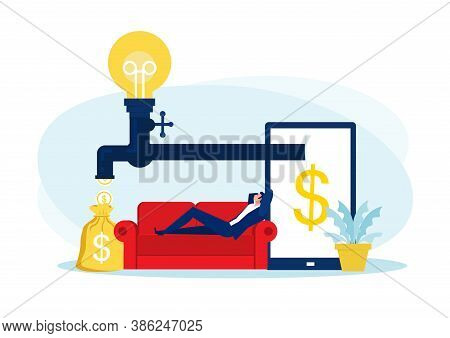 Businessman Sitting On Sofa , Relaxing And Making Money Passively. Finance, Investment, Wealth, Pass