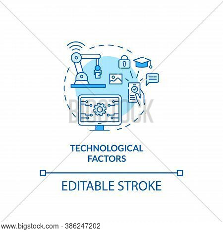 Technological Factors Concept Icon. Pestel Analysis. Devices Stop Working. Communication Issues Solv