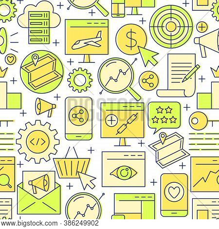 Search Engine Optimization Seamless Pattern In Line Style