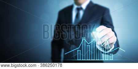 Business Development To Success And Growing Growth Concept, Businessman Drawing Graph Corporate Futu