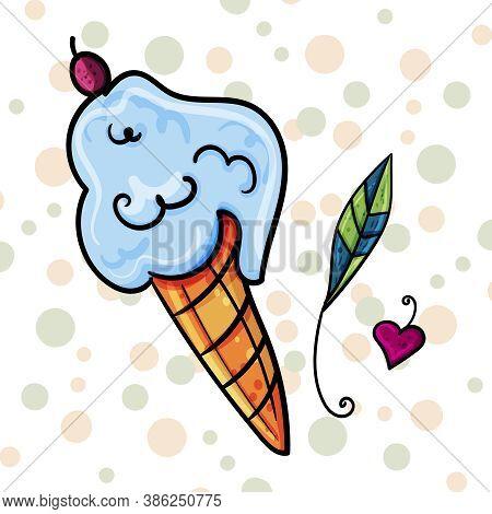 Ice Cream For A Dessert, The Bright Clipart. Vector Clip Art Illustration.