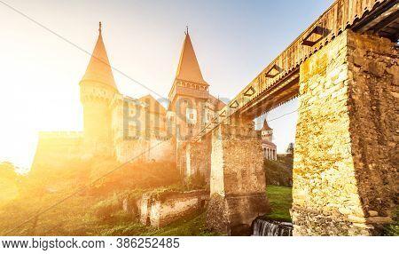 Beautiful Corvin Castle in Hunedoara, Romania