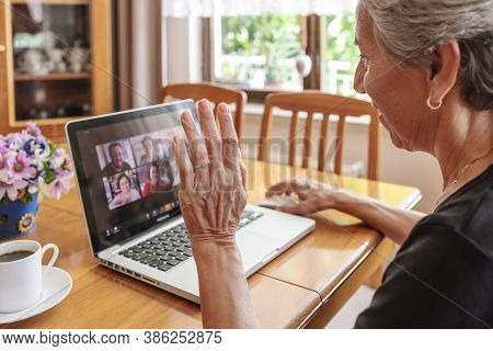 Antalya, Turkey - September 21, 2020. Old Woman Having Zoom Meeting Video Conferencing Call With His