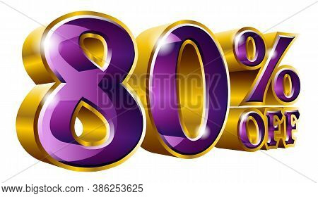 80% Off - Eighty Percent Off Discount Gold And Violet Sign. Vector Illustration. Special Offer 80 %