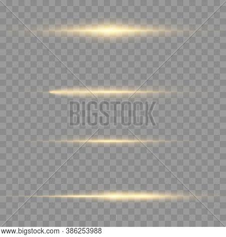 Horizontal Light Rays, Flash Yellow Horizontal Lens Flares Pack, Laser Beams, Glow Yellow Line On Tr