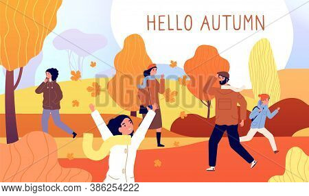 Hello Autumn Banner. Yellow November, Season Style Men Walk In Park. Red Orange Bush, Fall Nature An
