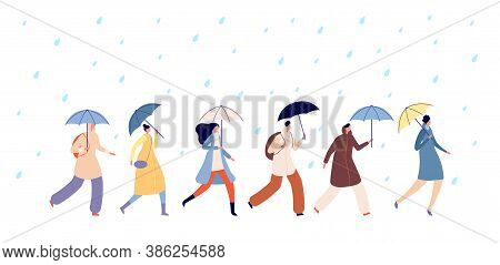 People Walking Rainy Weather. Adult With Umbrella, Man Girl Walk On Rain. Autumn Season Water Drops,