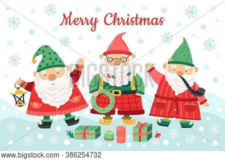 Gnomes Christmas Characters. Funny Dwarfs, Smiling Men On Snow Background. Nordic Season Background,