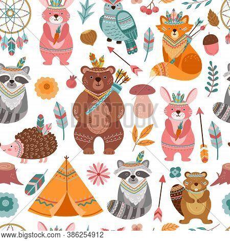Cute Tribal Animal Texture. Bright Animals, Woodland Indian Fox With Arrow. Child Textile Print, Fun