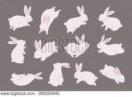 Mid Autumn Bunny. Chinese Festival, Rabbit Modern Character Set. Asian Funny Flat Holiday Animals, O