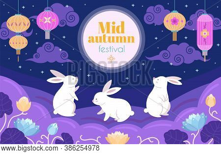 Chinese Mid Autumn Festival. Festive Full Moon, Happy Cartoon Rabbit With Flowers. Cute Bunnies, Asi