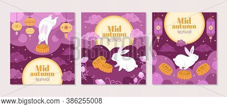 Mid Autumn Festival Cards. Fest Symbols, Cartoon Bunny Lantern And Cake Invitation. Asian Chinese, K