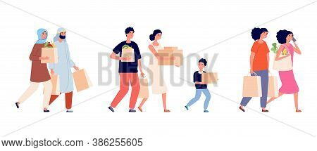 People With Paper Bags. Zero Waste Family, Shopping Time. Man Woman Holding Cardboard Boxes And Pack