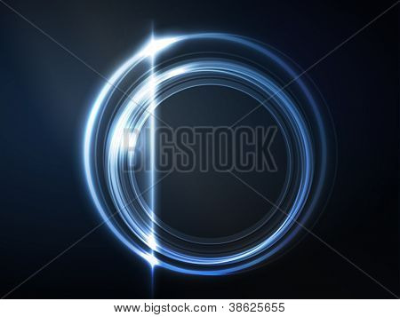 Overlying semitransparent circles with light effects form a blue glowing round frame on dark blue background. Space for your message, eps10.
