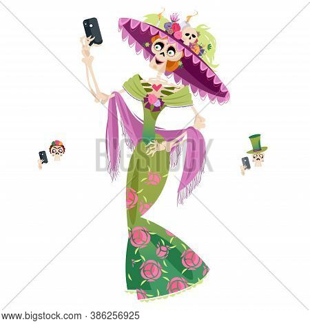 Skeleton Dressed In A Holiday Clothes Takes A Selfie. La Calavera Catrina. Dia De Muertos (day Of Th