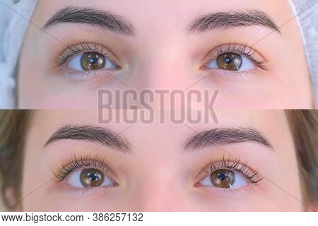 Womans Lashes After And Before Beauty Procedure Of Eyelash Lifting And Laminating In Beauty Clinic,