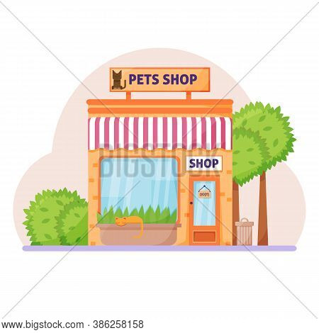 Facade Pets Or Zoo Store. Signboard With Emblem Cat, Awning And Symbol In Windows.