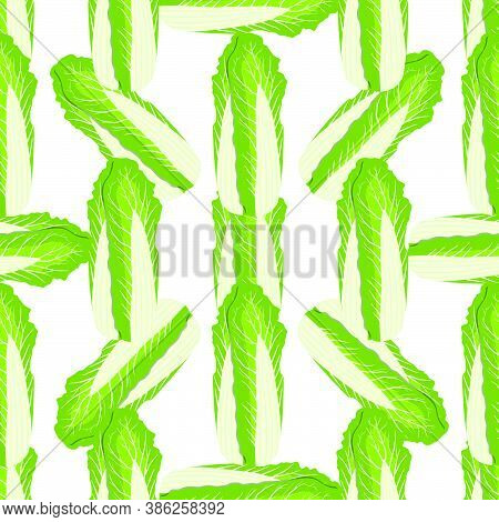 Illustration Pattern Chinese Cabbage, Vegetable Salad For Seal. Vegetable Pattern Consisting Of Beau