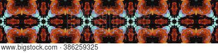 Geometric Rug Pattern. Dark Neon Seamless Texture. Abstract Shibori Design. Repeat Tie Dye Rapport.