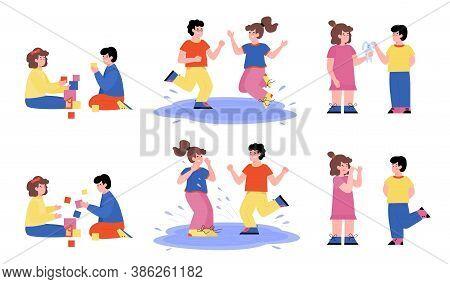 Cartoon Characters Set Of Boys And Girls Demonstrating Good And Bad Behavior, Flat Vector Illustrati