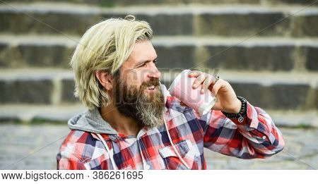 Caffeine Dose. Filter Coffee. Batch Brew Is Pour Over Coffee. Having Rest. Man With Beard Drinking C