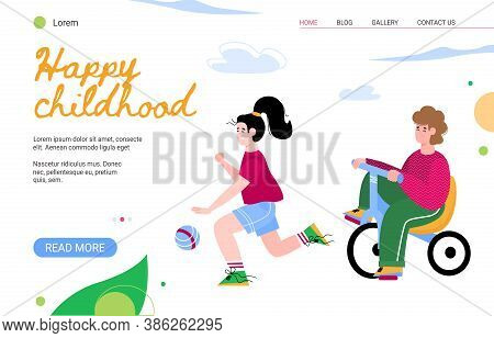 Website Template For Kindergarten Or Children Daycare Center With Cartoon Characters Of Happy Boy An