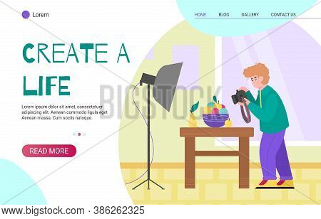 Website Homepage For Creative People With Man Photographer Cartoon Character, Flat Cartoon Vector Il