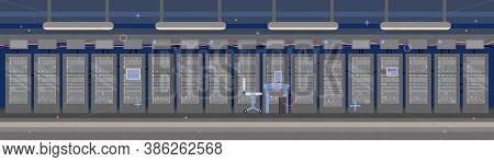 Empty Data Hosting Server Room, Flat Vector Illustration. Data Storage Server Interior Horizontal Ba