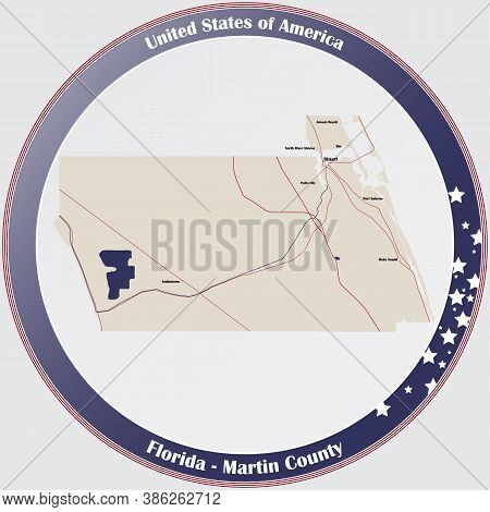 Round Button With Detailed Map Of Martin County In Florida, Usa.