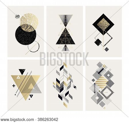 Set Of Posters With Abstract Geometric Shapes. Modern Minimalist Concepts For Art Print, Wall Art, H