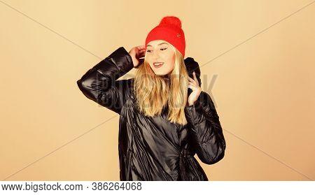 Bright Detail. Pretty Girl Enjoy Wearing Warm Jacket. Warm Coat. Fashion Model. Comfortable Down Jac