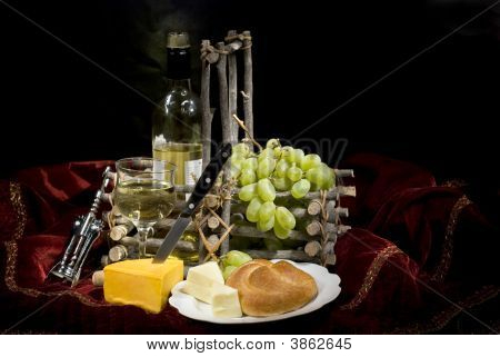 Wine, Fruit, Cheese And Bread - Low Key