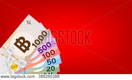 Banknote Money Thai Baht On Red Background, Thai Currency Thb For Background, Money Thailand Baht In