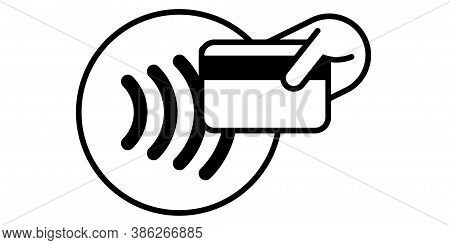 Contactless Payment Card Icon, Nfc Pay Vector Logo. Smart Card Or Key Pass, Contactless Payment Payp