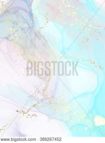 Watercolor Stain Art, Marble Poster Blue Gold Splatter Pattern. Abstract, Gradient Paint Background