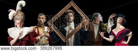 Framing. Collage On Young People In Medieval Attire On Dark Background. Retro Style, Comparison Of E