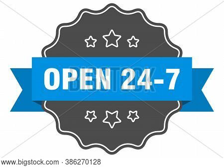 Open 24 7 Label. Open 24 7 Isolated Seal. Sticker. Sign
