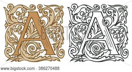 Initial Letter A With Vintage Baroque Ornamentation. Two Vector Illustrations Of Uppercase Letter A