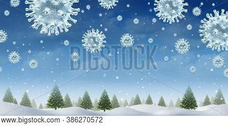 Winter Season Virus Concept As A Christmas Holiday Seasonal Symbol For Health And Healthcare Pandemi