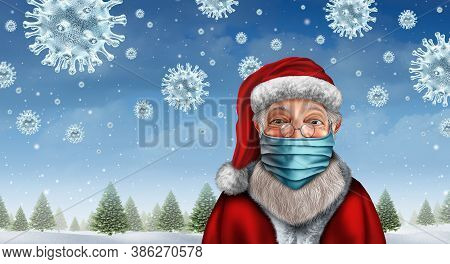 Santa Wearing A Face Mask Concept As A Christmas Holiday Season Symbol For Health And Healthcare Dis