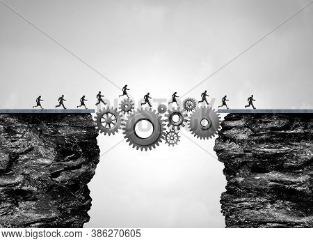 Business Bridge As An Industry Success Concept As Workers Or People Crossing A Path Made Of Gears An
