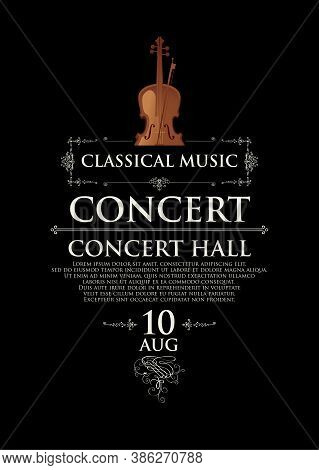 Poster For A Concert Of Classical Music In Vintage Style. Vector Banner, Flyer, Invitation Or Ticket
